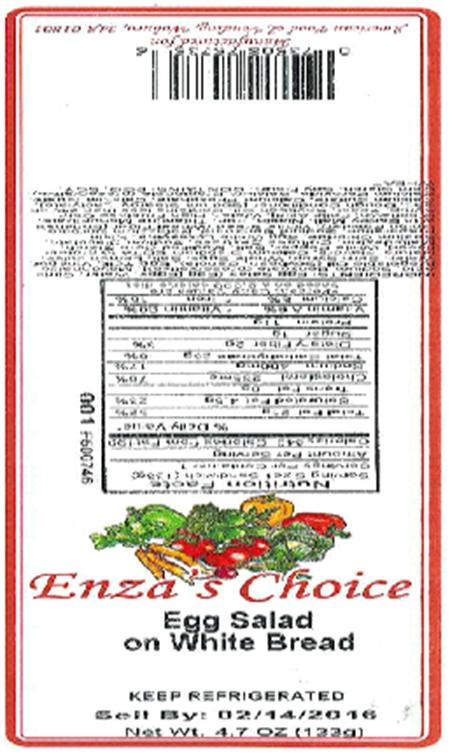 Label, Enza's Choice Egg Salad on White Bread, 4.7 oz.