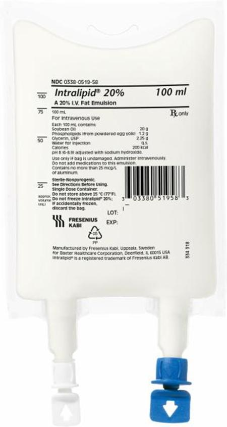 Front view of product, INTRALIPID 20% IV Fat Emulsion, 100 mL
