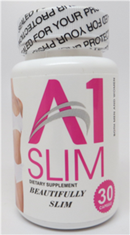 """Product image, A1 Slim Dietary Supplement, 30 capsules bottle)"