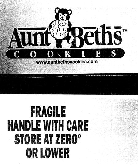 Aunt Beth's Cookies, label example
