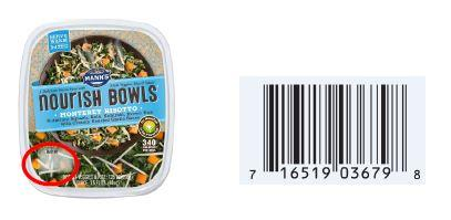 Mann's Nourish Bowls Monterey Risotto. US: Best if Used By in lower left corner and UPC on back. Affected Date Codes: OCT 11 - 19, 2017