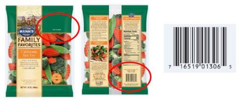 Mann's California Stir Fry. USA: Best if Used By in upper right corner and UPC on back of bag. Affected Product date codes: OCT 14 – 16, 2017