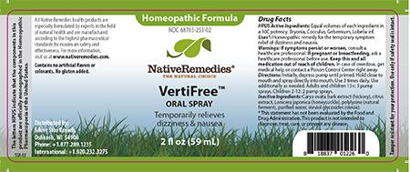 Homeopathic Formula, Native Remedies VertiFree, ORAL SPRAY, 2 fl oz (59 mL)