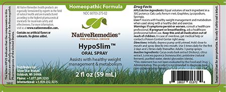 Homeopathic Formula, Native Remedies HypoSlim, ORAL SPRAY, 2 fl oz (59 mL)