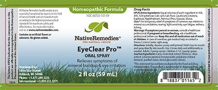 Homeopathic Formula, Native Remedies EyeClear Pro, ORAL SPRAY, 2 fl oz (59 mL)