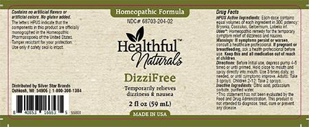 Homeopathic Formula, Healthful Naturals DizziFree, 2 fl oz (59 mL)