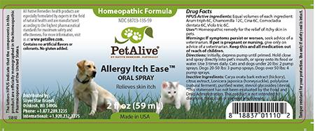 Homeopathic Formula, PetAlive, Allergy Itch Ease, ORAL SPRAY, 2 FL OZ (59 mL)