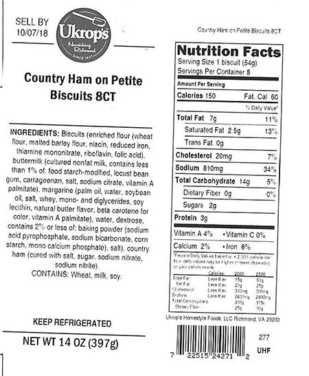 Label, Ukrops Country Ham on Petite Biscuits 8CT