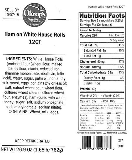 Label, Ukrops Ham on White House Rolls 12CT