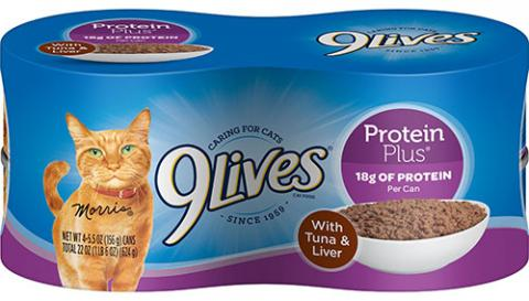 9Lives® Protein Plus® With Tuna & Liver 7910021748 4 pack of cans, 5.5 oz each Apr. 17, 2020 - Sept.14, 2020