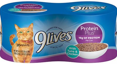 9Lives® Protein Plus® With Tuna & Chicken, UPC 7910021549, 4 pack of cans, 5.5 oz. each