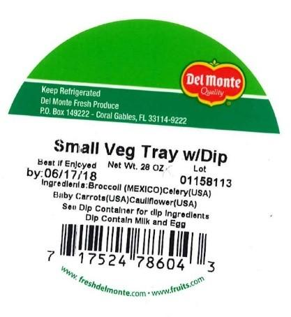 Label, Del Monte Vegetable Tray with Dip, 28 oz.