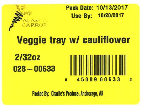 Label, Veggie tray w/ cauliflower