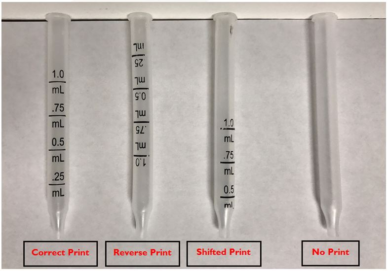 Correctly printed dropper and the three misprinted droppers