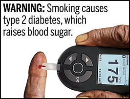 "A rectangular cigarette health warning with a white background and black text that reads: ""WARNING: Smoking causes type 2 diabetes, which raises blood sugar."" Above the text is a photorealistic illustration depicting a personal glucometer device being used to measure the blood glucose level of a person with type 2 diabetes caused by cigarette smoking. The digital display reading of 175 mg/dL and a notation on the glucometer indicate a high blood sugar level. The warning is surrounded by a black outline."