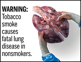 "A rectangular cigarette health warning with a white background and black text that reads: ""WARNING: Tobacco smoke causes fatal lung disease in nonsmokers."" To the right of the text is a photorealistic illustration showing gloved hands holding a pair of diseased lungs containing cancerous lesions from chronic secondhand smoke exposure. The warning is surrounded by a black outline."