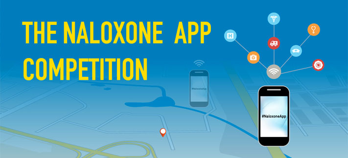 The Naloxone App Competition, smart phone with #NaloxoneApp and icons