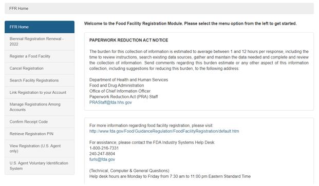 Food Facility Registration User Guide: Biennial Registration