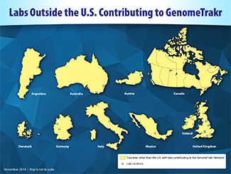 Map showing labs outside the U.S. contributing to the GenomeTrakr network. The locations of individual labs are shown with a light blue circle. There are 20 labs spread across 9 countries.