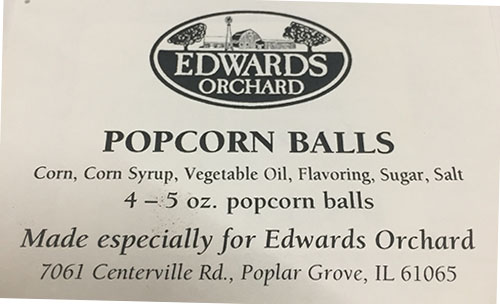Label, Edwards Orchards Popcorn Balls