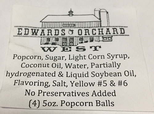 Label, Edwards Orchards West Popcorn Balls