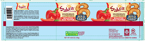 ROLD GOLD, SABRA HUMMUS with PRETZELS, ROASTED RED PEPPER