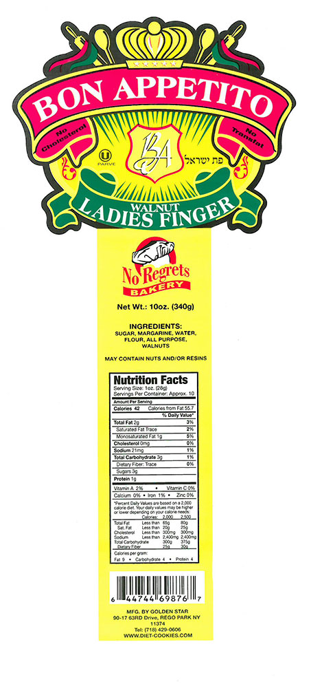 BON APPETITO Walnut Ladies Finger Cookies, 10-oz. packages