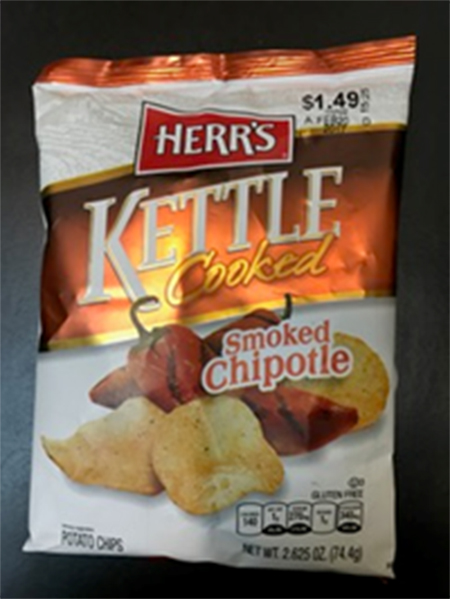 Picture, Herr's Kettle Cooked Smoked Chipotle Potato Chips, 2.625 oz