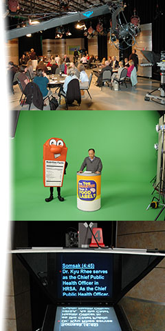 Collage of the FDA Studio's Grass Valley Karerra video switcher, a Scene from our food label program being shot on green-screen, and a studio camera with 20 inch teleprompter head.