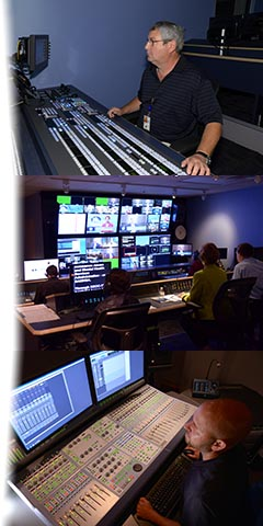 Collage of the FDA Studio's Grass Valley Karerra video switcher, broadcast control room, and the Audio Finishing part of the seven AVID editing suite complex.