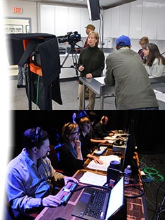 Collage of FDA Studio's field production team recording a food safety program, and our live field webcasting system.