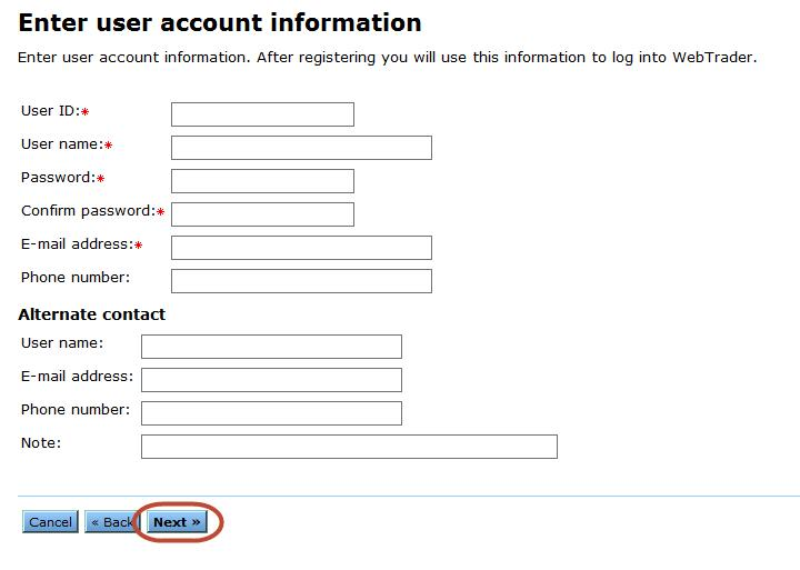 Enter User Account Information