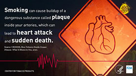 Smoking can cause buildup of a dangerous substance called plaque inside your arteries, which can lead to heart attack and sudden death.
