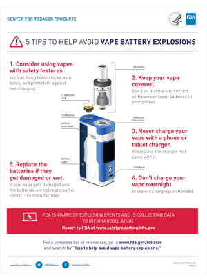 Vape Battery Tips Infographic, How to Report Unexpected Issues