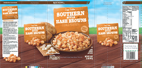 ROUNDYS SOUTHERN STYLE HASHBROWNS, NET WT. 32 OZ. (2LB) 907 g