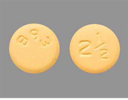 2.5 mg of yellow, round, biconvex, film-coated tablet with '893' debossed on one side (wrong product inside package)