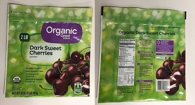 Organic Great Value Dark sweet cherries, pitted (front and back label), Net wt. 32 oz