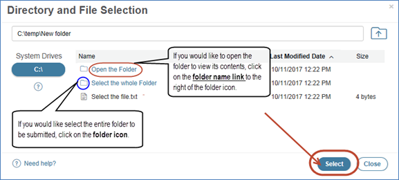 Submit folder using WebTrader
