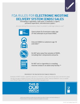 Rules for Sales of E-Cigarettes and Other Electronic Nicotine Delivery Systems (ENDS)