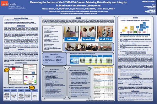Poster – Measuring the Success of the UTMB-FDA Course: Achieving Data Quality and Integrity in Maximum Containment Laboratories, presented in August 2017 (PDF, 833 KB)