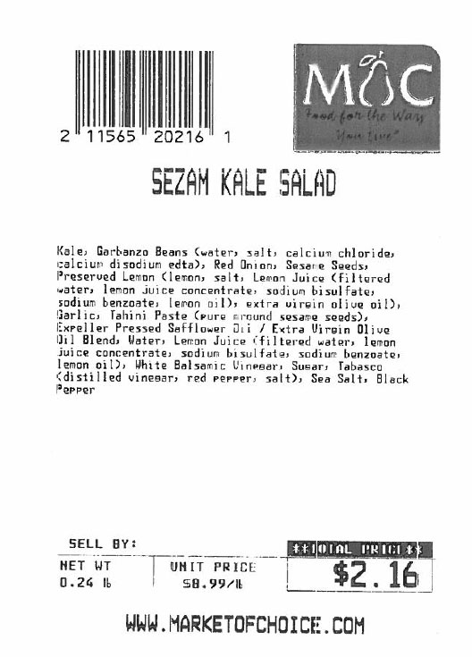 Label, Market of Choice, Sezam Kale Salad