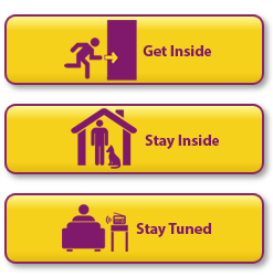 In a radiation emergency, get inside, stay inside, and stay tuned. (Image: CDC)