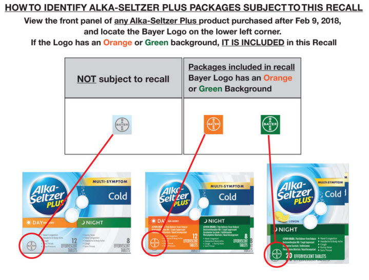 3 Alka Seltzer Plus boxes are displayed. Boxes with the gray Bayer symbol in the lower left are not subject to the recall. Boxes with orange or green Bayer symbols in the lower left are subject to the