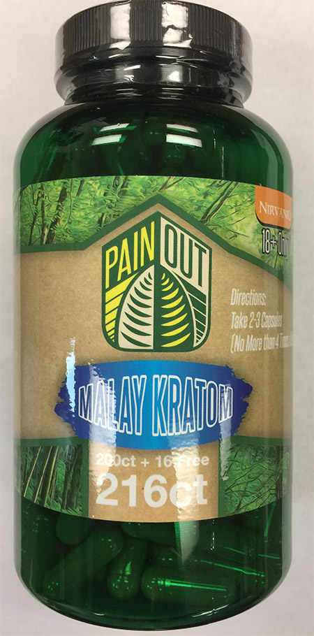 Product image: Pain Out Malay Kratom 216 count bottle