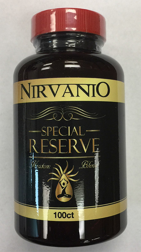 Product image: Nirvanio Special Reserve Kratom 100 count bottle