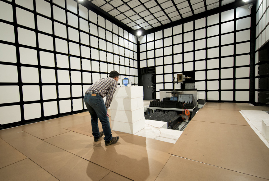 The FDA EMC/Wireless Lab houses a large anechoic chamber for electromagnetic compatibility and wireless coexistence testing.