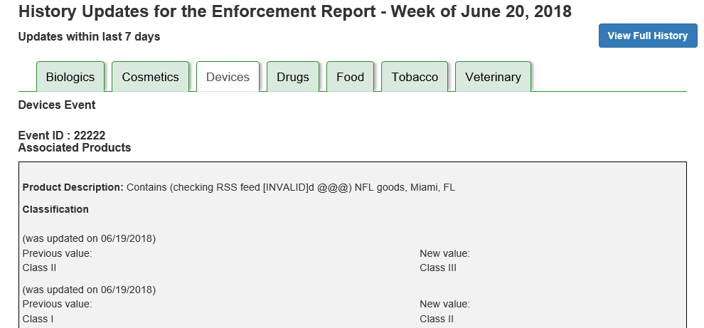 This image shows portion of the Enforcement Report