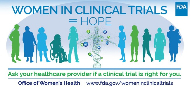 Silhouettes of Women of Different Sizes and Ethnicities standing under a header that says Women in Clinical Trials = HOPE