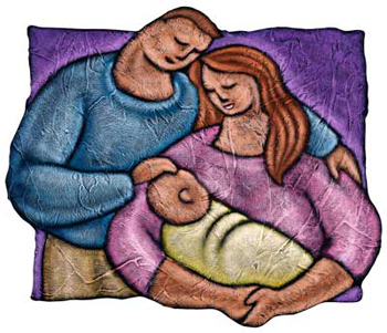color illustration of family with mom, dad, and baby