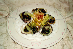 plate of baked oysters